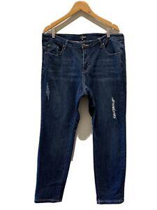 Womens-Blue-Jeans-size-16-Distressed-detail-Blue-denim-Jeans