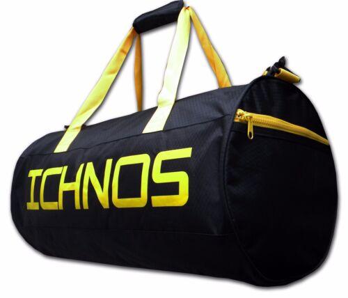 Ichnos sport  weekend gym duffle holdall bag black yellow shoulder strap