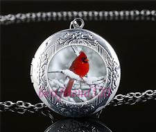 Snow Red bird Photo Cabochon Glass Tibet Silver Locket Pendant Necklace