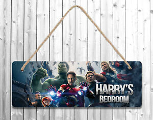Personalised Any Name Avengers Printed Wall Door Plaque Wooden Sign Gift 2