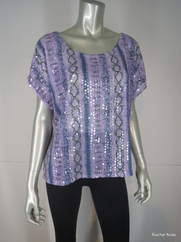Neiman Marcus Top Blouse  NEW Größe M lila Sequin Snake Short Sleeve T-Bags