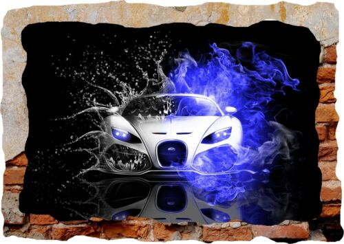 Super Sports Car Racing Bugatti 3d Smashed Wall View Sticker Poster Decal 1022