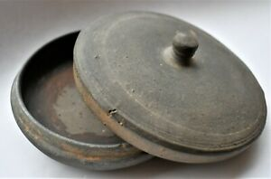 Antique-Gray-Clay-Lidded-Bowl-Vintage-Pottery-Grey-Container-12cm-wide