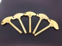 Set Of 5 Solid Brass Schatz Anniversary 400 Day Trademark Clock Key 3 3.0 Mm