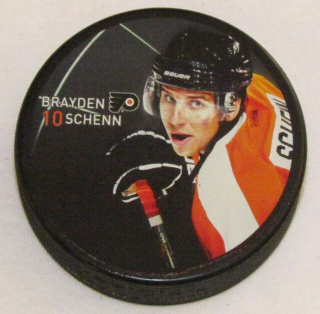 BRAYDEN SCHENN Philadelphia Flyers PLAYER PHOTO PUCK 2013 NEW #10 In Glas Co