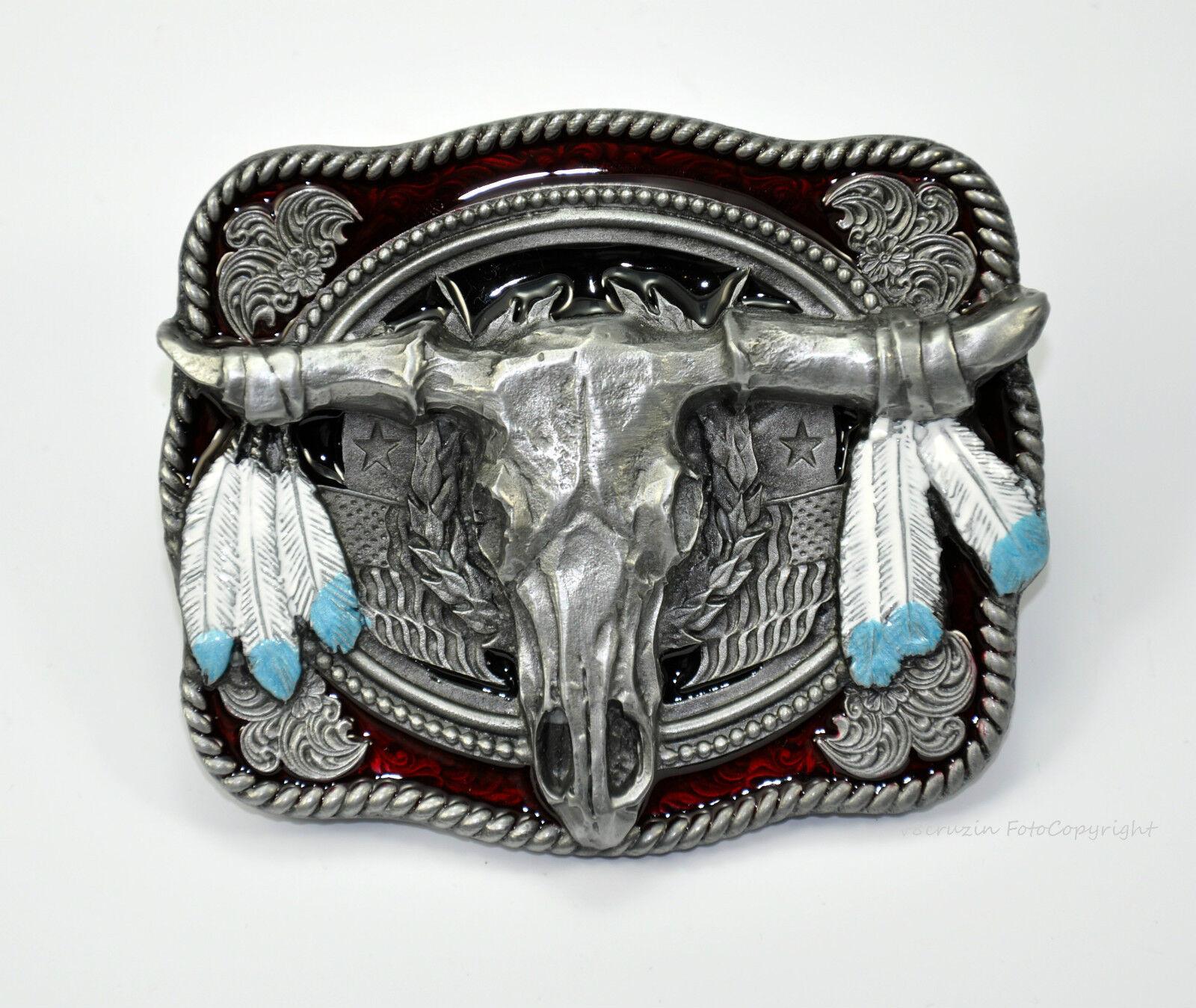 * Bull Skull Longhorn Motif Belt Buckle Belt Buckle Rodeo Western Riding * 522