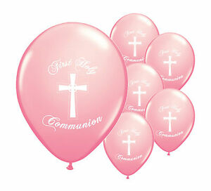 """30 x PINK FIRST HOLY COMMUNION 12/"""" HELIUM BALLOONS PARTY DECORATIONS PA"""