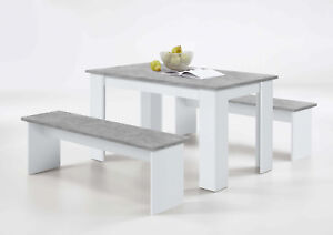 Details About Durban White And Grey Dining Table With Bench Seats Lounge Furniture