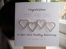 Handmade Personalised Silver Wedding Anniversary Heart Card 25th Mum Dad