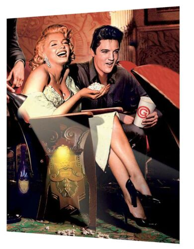 NEW MARILYN MONROE AND ELVIS PRESLEY IN CINEMA  PRINT ON FRAMED CANVAS WALL ART