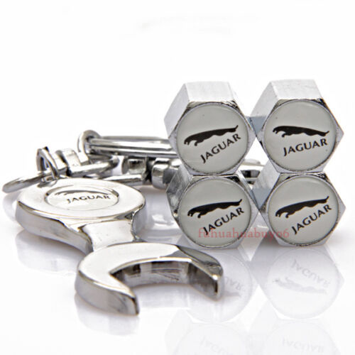 Car Tire Valve Caps Air Valve Dust Covers Wrench Keychain For Jaguar XE XJ XF