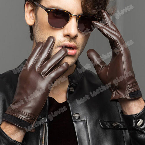 Men/'s Lambskin Winter Warm Genuine Leather Gloves For Men Driving With Fur Lined
