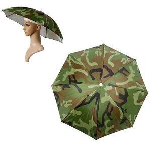 5226c25f6edff Image is loading Foldable-Elastic-Headband-Camouflage-Sun-Rain-Umbrella-Hat-