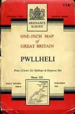 1952 vintage OS Ordnance Survey One-Inch map No 115 Pwllheli (linen-backed)