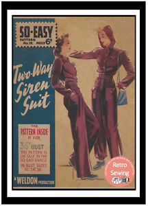 1940-039-s-Wartime-Two-Way-Siren-Suit-Vintage-Sewing-Pattern-Bust-36