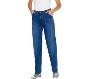 Isaac-Mizrahi-Live-Women-039-s-TRUE-DENIM-Regular-Wide-Leg-Cargo-Jeans-12-Size-QVC