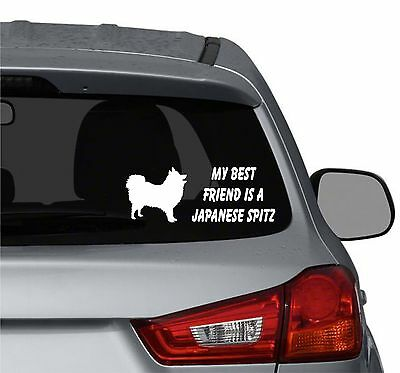 My best friend is a Japanese Spitz dog vinyl car truck windows decal sticker
