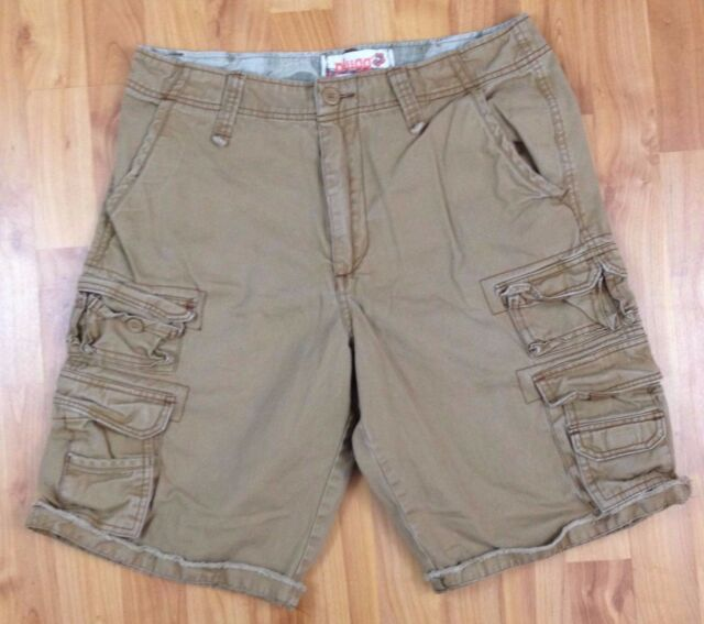 43fe9ab37b Plugg Men's Cargo Shorts Young Mens Distressed Tan Khaki Size 29 Frayed Hem