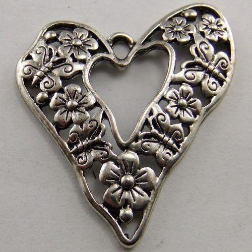 02671 Vintage Silver Tone Alloy Heart Flower Butterfly Charm Pendant Hot 15pcs