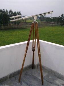 Nautical-Vintage-Telescope-maritime-Brass-Nickel-Finish-On-Wooden-Tripod-Stand
