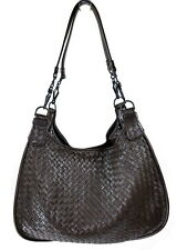 BOTTEGA VENETA BROWN WOVEN NAPPA LEATHER SHOULDER BAG