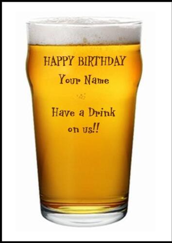 Nouveauté Personnalisé Joyeux Anniversaire Carte De Vœux verre à bière-Own Design