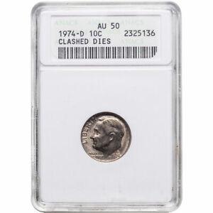 1974-D Roosevelt Dime - CLASHED DIES - ANACS AU 50 - Nice Error Coin! -d3103dxth