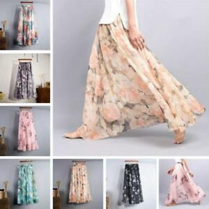 New-Womens-Pleated-Boho-Beach-Maxi-Dress-Flower-2-Layer-Elastic-Waist-Long-Skirt