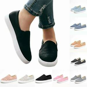 Womens-Flats-Summer-Sneakers-Loafers-Slip-On-Comfy-Trainers-Pumps-Casual-Shoes