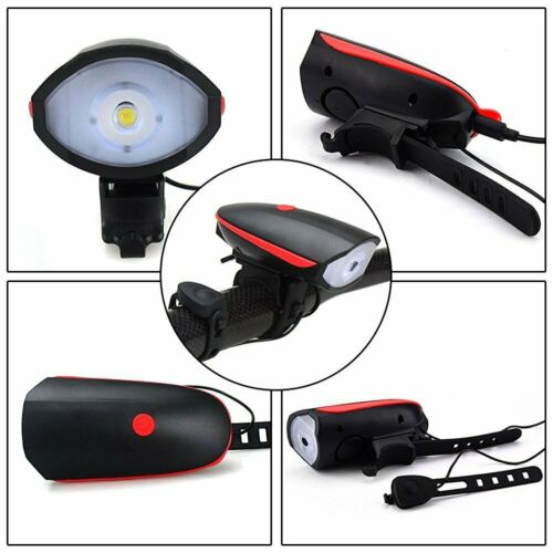 Details about  /Bicycle Headlight With Loud Bike Horn USB Rechargeable LED Lamp Waterproof Bell