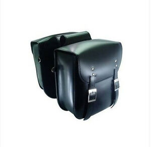 Black-Leather-Cruiser-Style-Motorcycle-Saddlebags-Motorbike-Panniers-Luggage