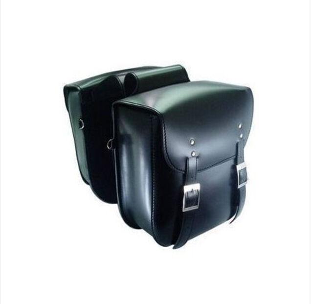 Black Leather Cruiser Style Motorcycle Saddlebags Motorbike Panniers Luggage