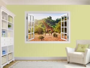 12813952ww Giraffe in the savanna photo Hole in wall sticker wall mural