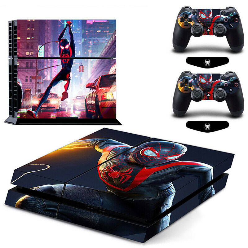PS4 Skin Sticker For Console Controllers Full Vinyl Wrap Design Spiderman Miles