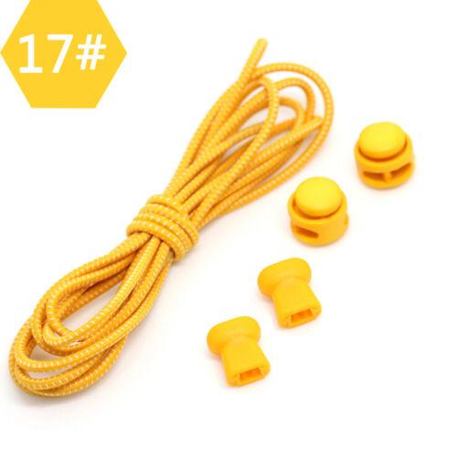 1Pair Elastic shoelaces lock laces no tie triathlon jogging elasticated lace H-E