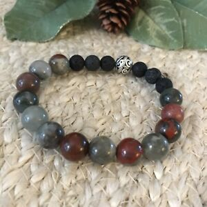 Essential-Oil-Diffuser-Bracelet-Jasper-Gemstones-Lava-Rock-Beads-Aromatherapy