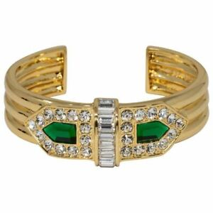 Rachel-Zoe-Art-Deco-Cuff-Bracelet-in-Gold-Green-and-Clear-Crystals