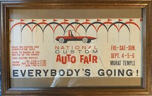 ORIGINAL 1964 Indianapolis Hot Rod Custom Car Show Poster Murat Temple Auto Rat
