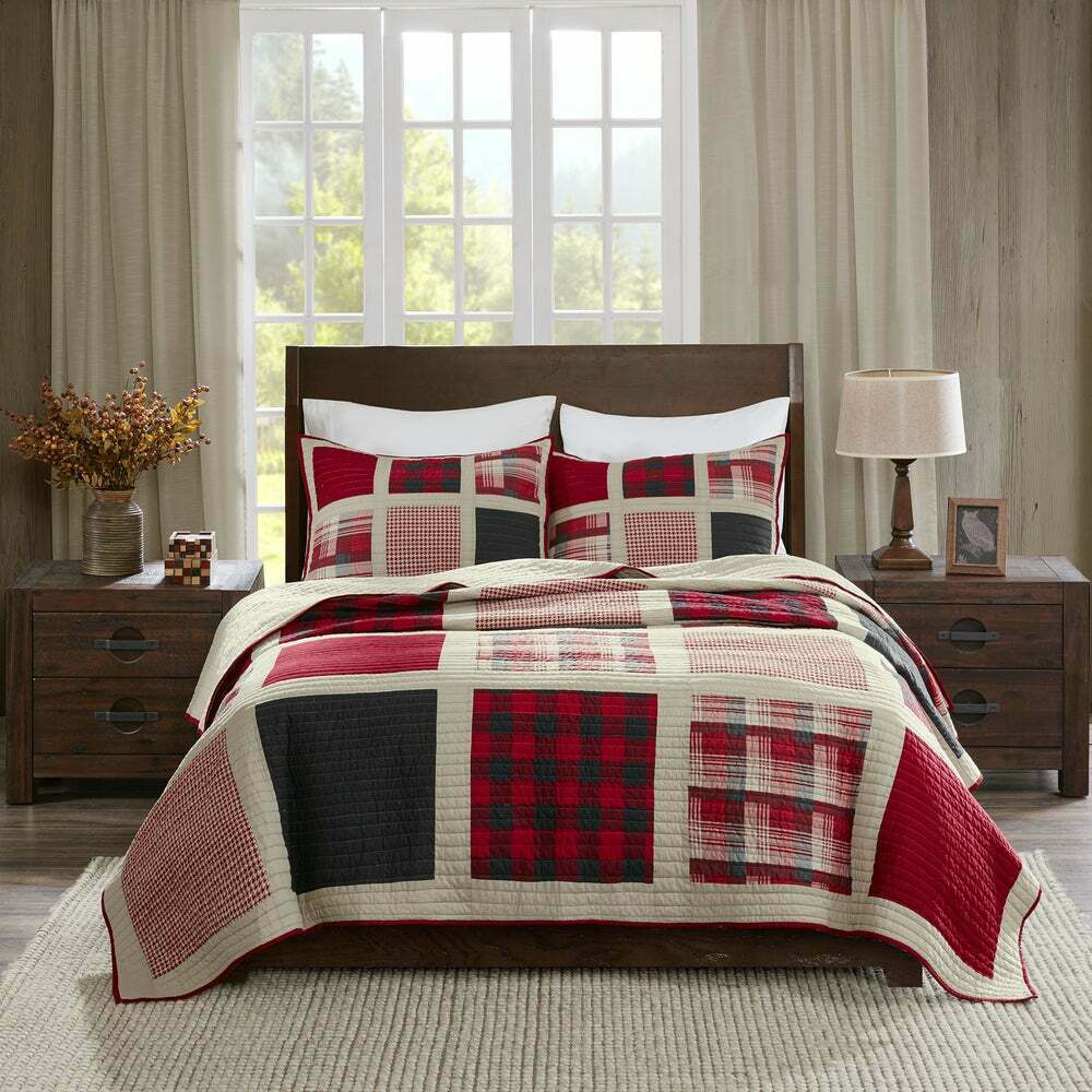 BEAUTIFUL CLASSIC LODGE LOG CABIN SOUTHWEST COUNTRY rot BEIGE PLAID QUILT SET