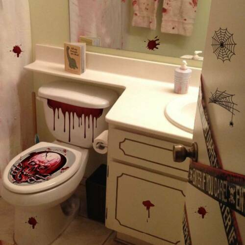 Halloween Toilet Seat Cover Blood Skull Stickers Scary Party Decor Topper New