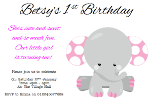 Image Is Loading Personalised Birthday Party Invites Invitations Boy Girl ELEPHANT
