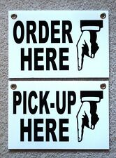 Order Here Amp Pick Up Here Plastic Signs 8x12 Withgrommets Restaurant Black