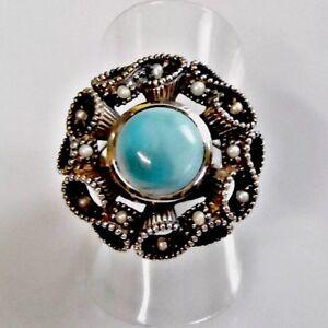 Antik-Style-Tuerkis-Saat-Perlen-Lotperlen-Ring-925er-Sterling-52-16-5-mm