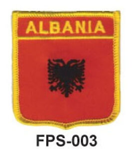 2-1/2'' X 2-3/4 ALBANIA Flag Embroidered Shield Patch