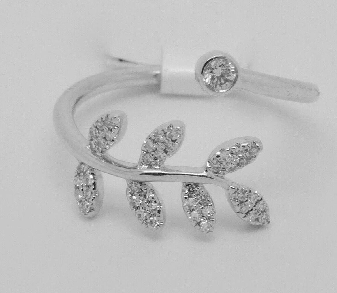14k WHITE gold DIAMOND NEW FASHION FLORAL RING