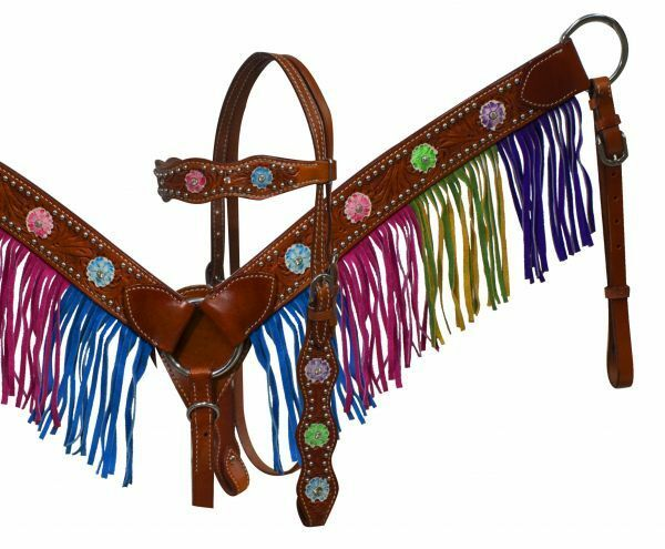 Showman Medium Leather Headstall & Breast Collar w  Mulit colord Fringe