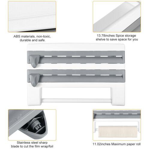 Kitchen Roll Dispenser Cling Film Tin Foil Paper Towel Holder Rack Wall Mount