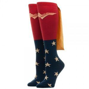 dec34b2eb Details about Wonder Woman Movie 1 Pair Women s Knee High Socks with Shiny  Gold Cape DC Comics