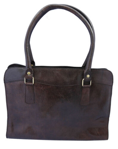 Genuine Leather Handmade Zipped Top Smart satchel Bag in Tan and Brown