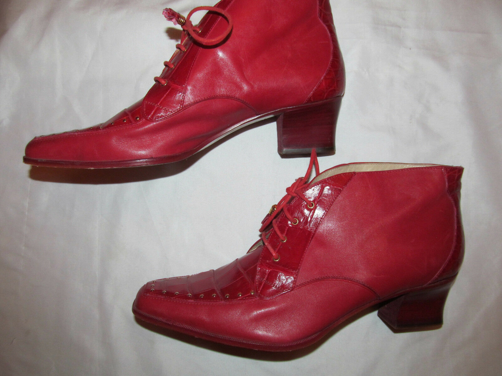 CAPORICCI ALLIGATOR lace up studded heeled ankle boots womens 11 , mens 9 M RARE